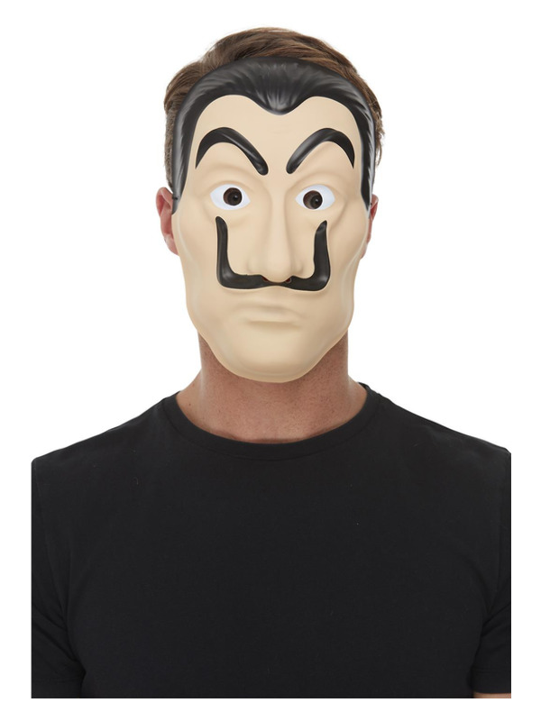 Surreal Artist/Bank Robber Mask, Beige, Full Face PVC with Elastic