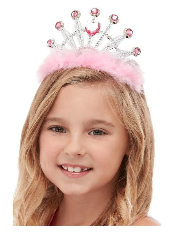 Princess Tiara, Pink, with Marabou & Diamantes
