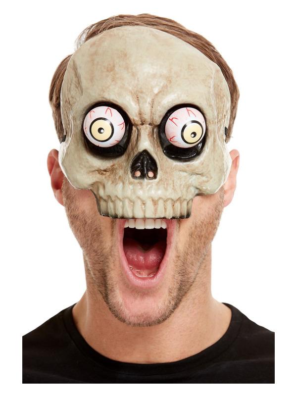 Skeleton Mask, White, PVC, with Moving Eyes