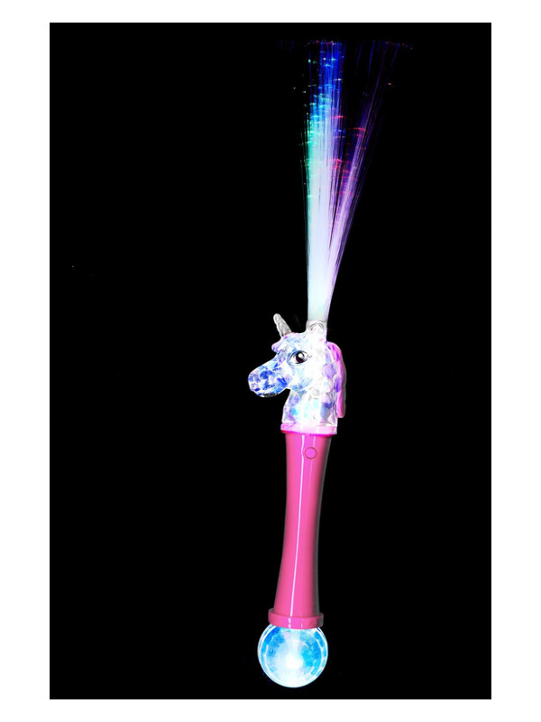 Unicorn Fibre Optic Wand, Light Up, Pink & Blue, Assorted Colours, 41cm/16in