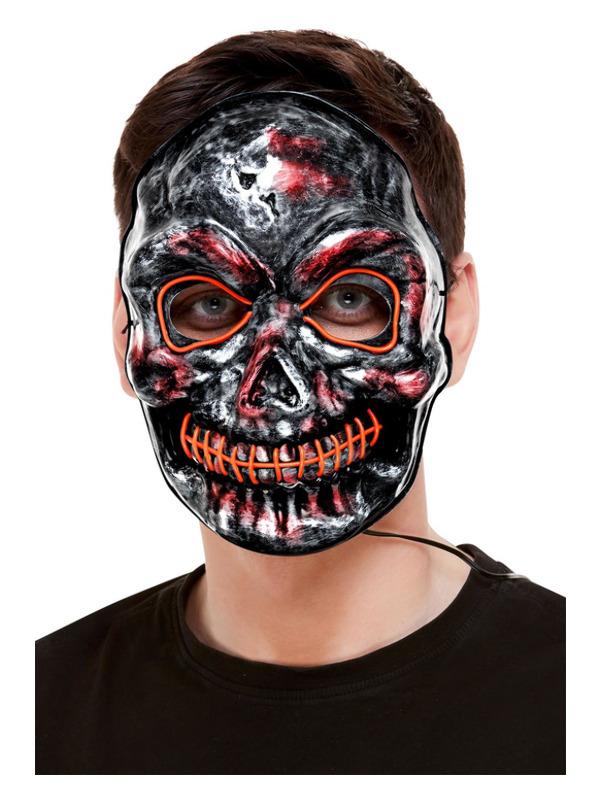 Skeleton Mask, Light Up, Grey, with Elastic Strap