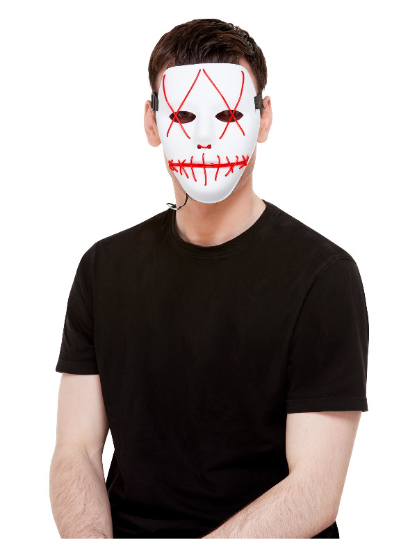 Stitch Face Mask, Neon Red Light Up, White, with Elastic Strap