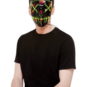 Stitch Face Mask, Green Neon Light Up, Black, with Elastic Strap