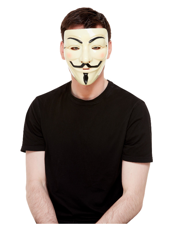 Guy Fawkes Mask, White, with Elastic Strap