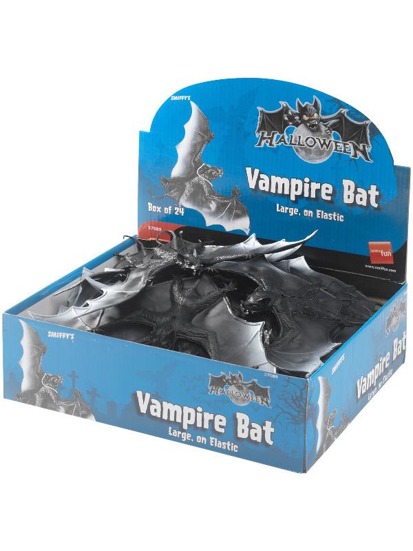 Large Vampire Bat, Black, on Elastic, PVC, 24