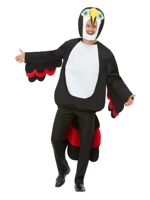 Bird Of Paradise Toucan Costume, Black, with Winged Tabard & Hood