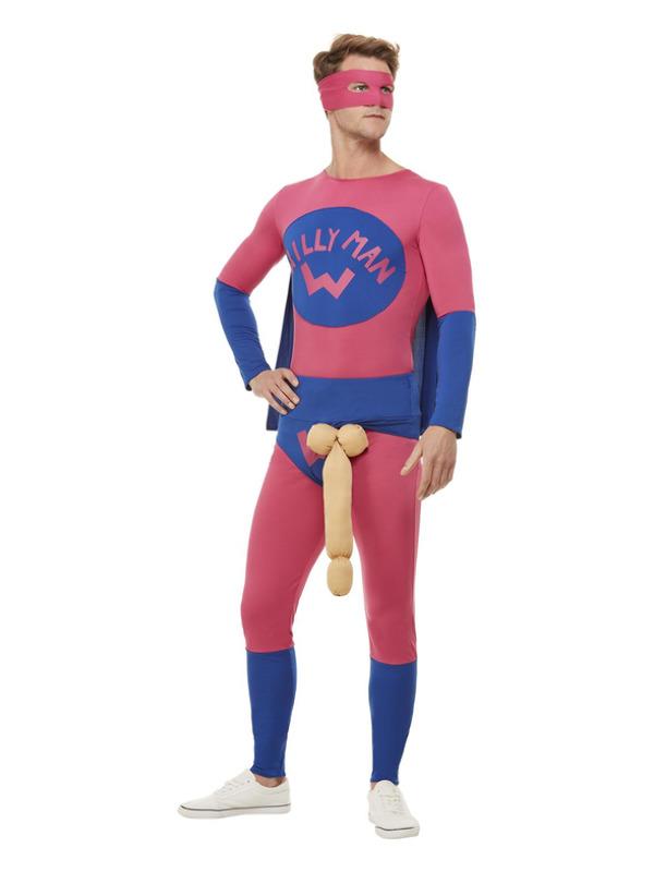 Willyman Superhero Costume, Pink & Blue