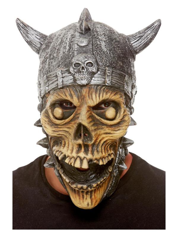 Viking Skeleton Latex Mask, Silver