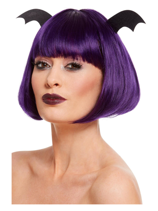 Halloween Party Bob Wig, Purple, with Attached Glitter Bat Wings