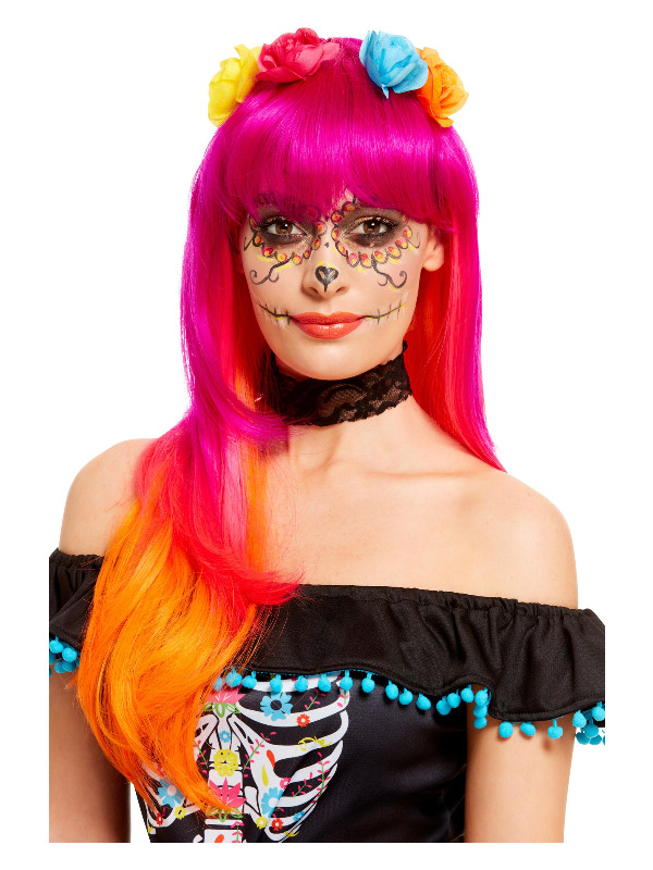 Day of the Dead Wig, Pink & Orange, with Flowers