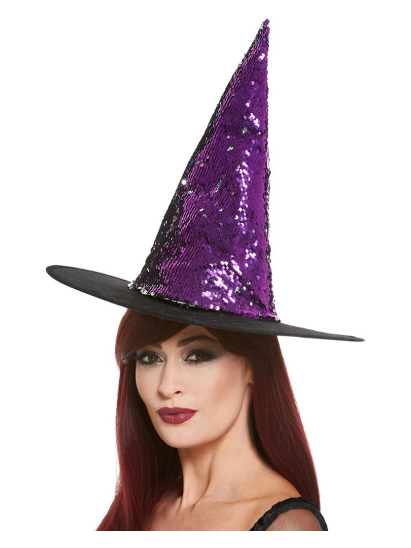 Reversible Sequin Witch Hat, Purple & Black