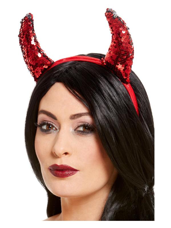 Reversible Sequin Devil Horns, Red, on Headband