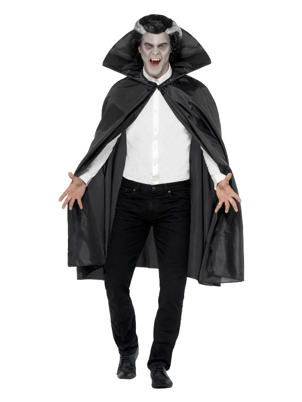 Fabric Cape, Black, with Stand Up Collar, 114cm/45in