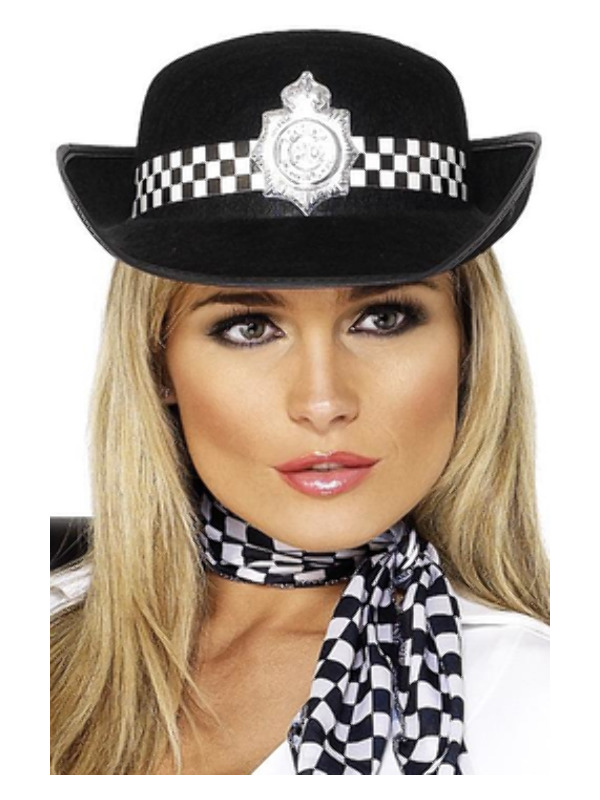 Policewoman's Hat, Black, with Badge