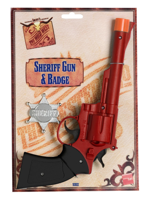 Western Gun and Badge, Red