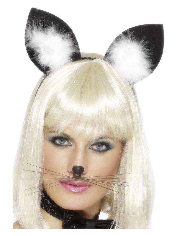 Cat Ears, Black, with Marabou Trim on Headband