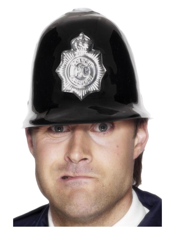 Police Helmet, Black, Plastic with Badge