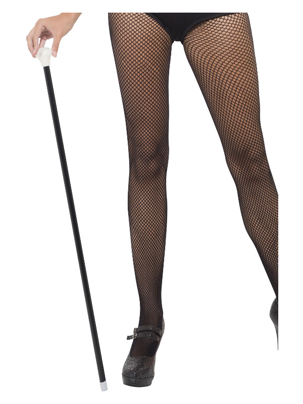 20s Style Dance Cane, Black, with White Tip, Length 80cm / 31in