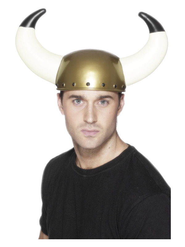 Viking Helmet, Gold, with Large Horns