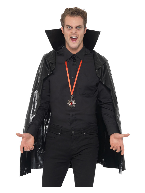 PVC Vampire Cape, Black, with Stand Up Collar, 114 cm/45 inches