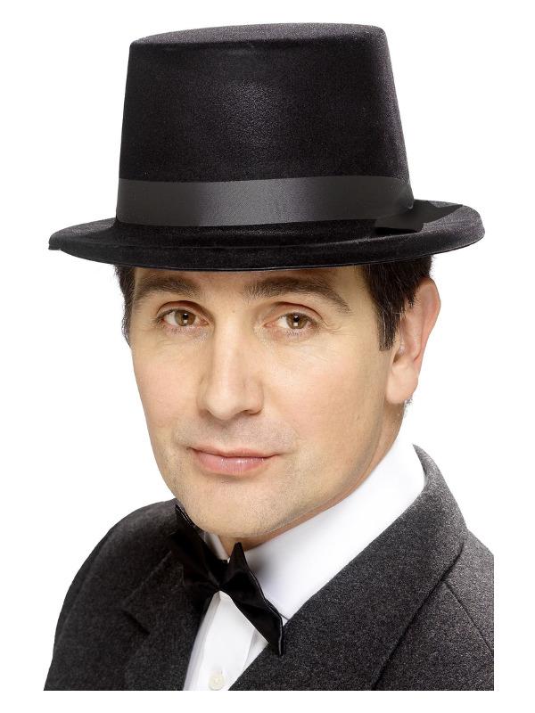 Flocked Topper Hat, Black, Felt