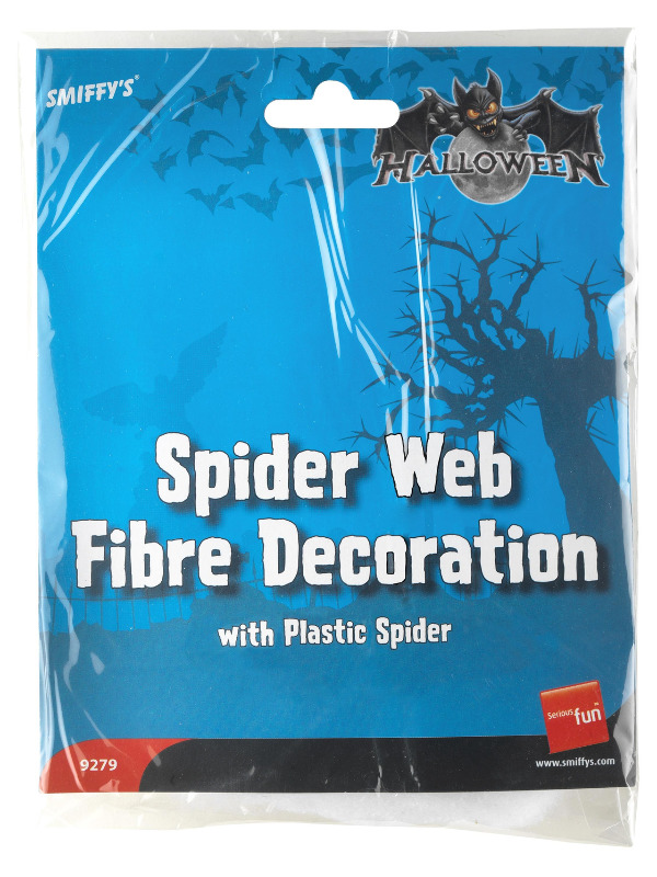 Spider Web Fibre Decoration, White, with Plastic Spider, 18g/0.63oz