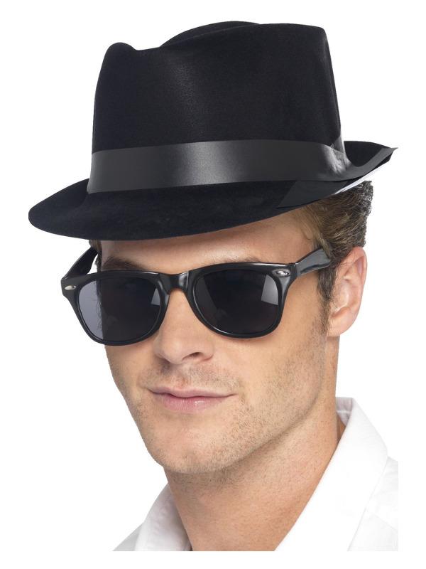 Flocked Fedora Hat, Black, Plastic