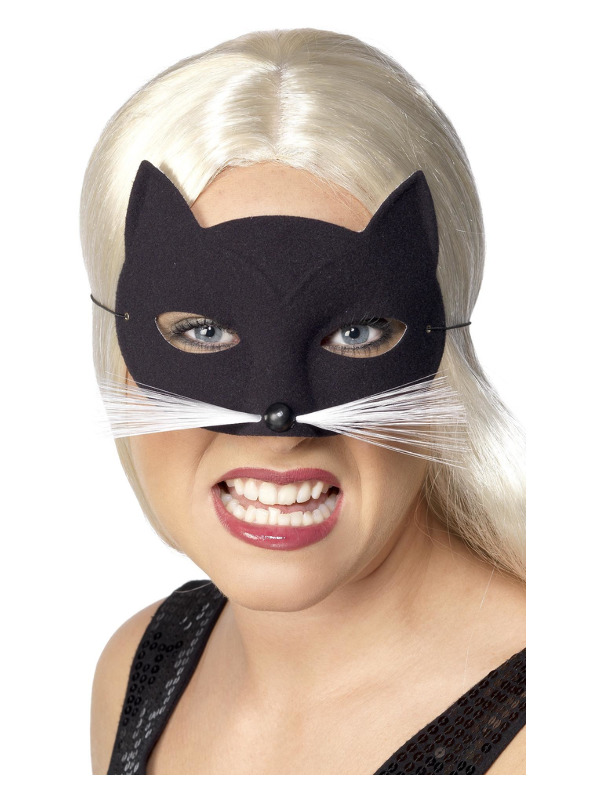 Cat Eyemask, Black, with Nose and Whiskers