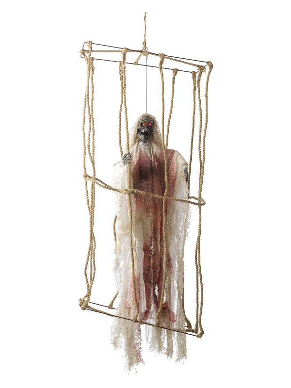 Animated Hanging Caged Skeleton Decoration, White, Light Up Eyes & Movement 40x25x85cm / 15x9x33in