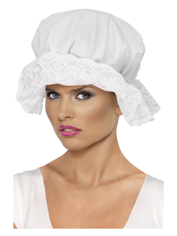 Mop Cap, White, with Lace