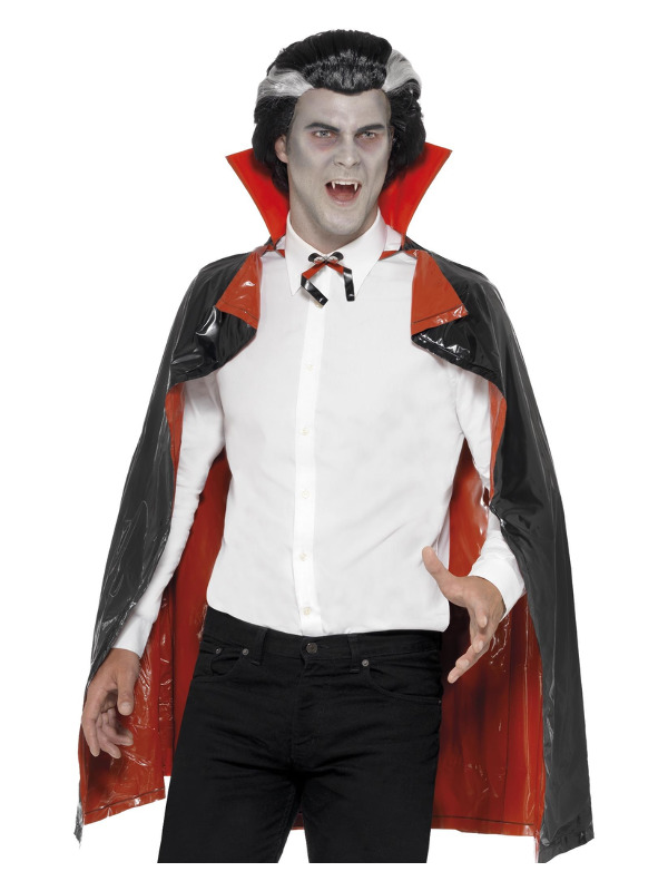 PVC Reversible Vampire Cape, Black & Red, with Collar, 114cm/45in