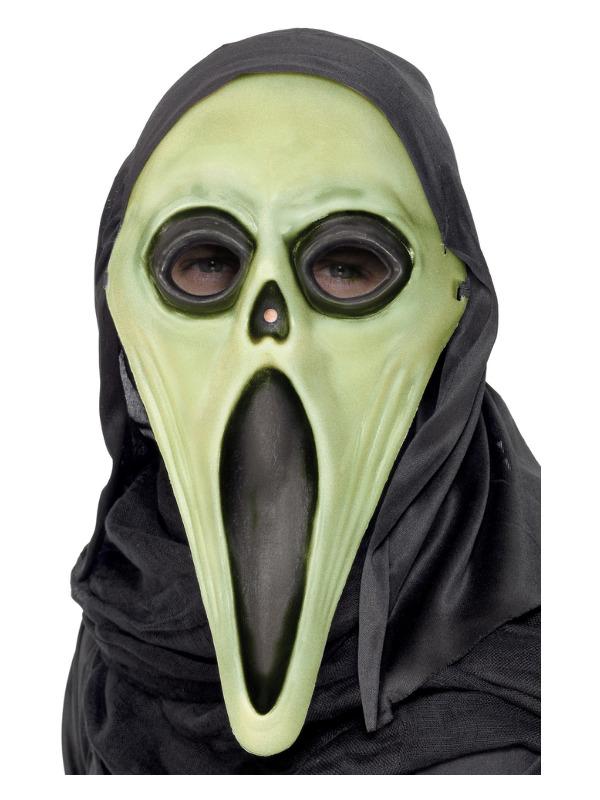 Glow in the Dark Screamer Mask, Black & White, with Hood