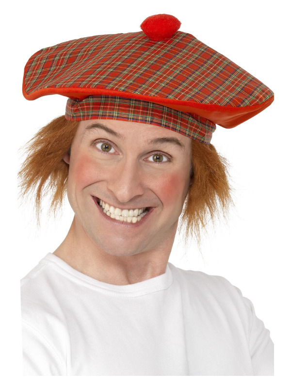 Deluxe Tam-O-Shanter Hat, Red, with Hair