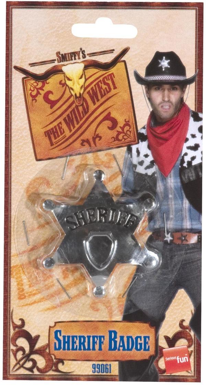 Sheriff Star Badge, Silver, Metal, 65mm